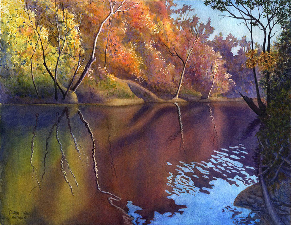 watercolor painting autumn by cathy hillegas