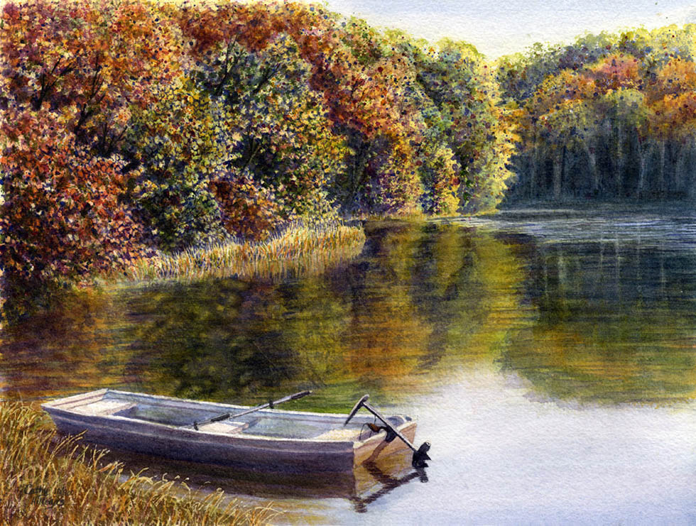 watercolor painting boat by cathy hillegas