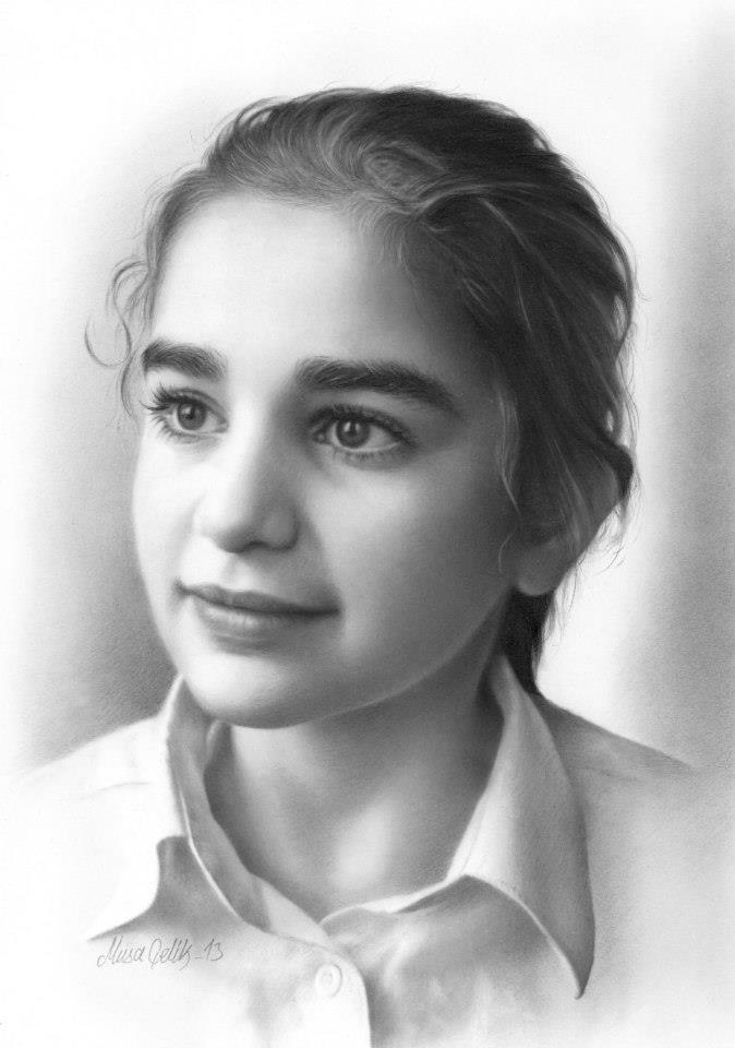 portrait pencil drawing gril by musa celik