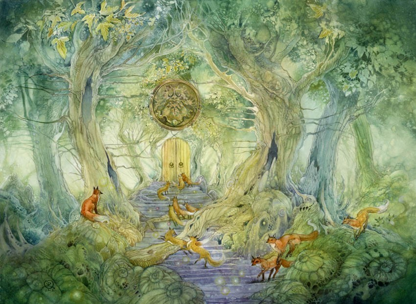 surreal watercolor painting green gate by puimun law