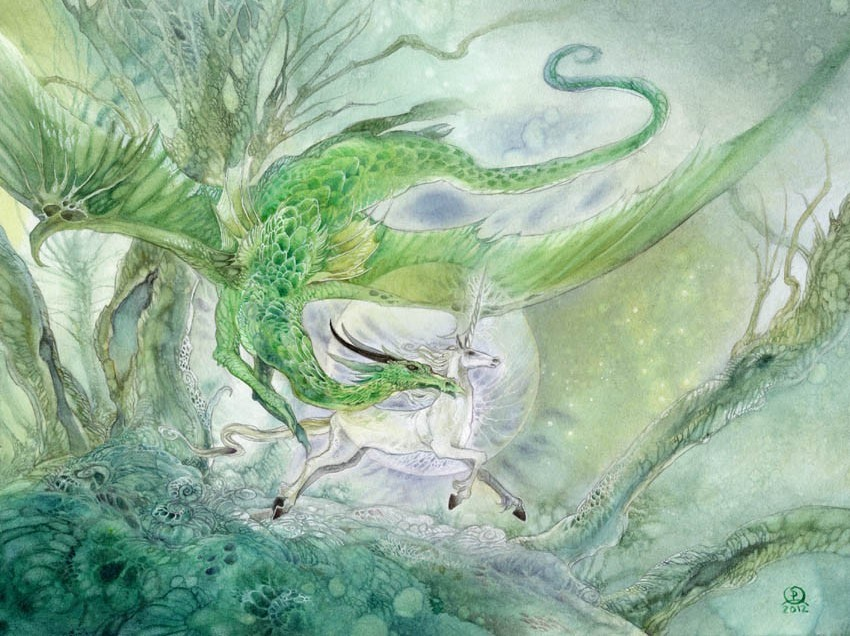 surreal watercolor painting unicorn by puimum