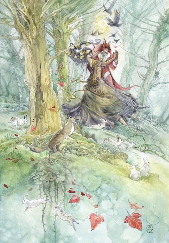 surreal watercolor painting dreamdance trickster by puimun law