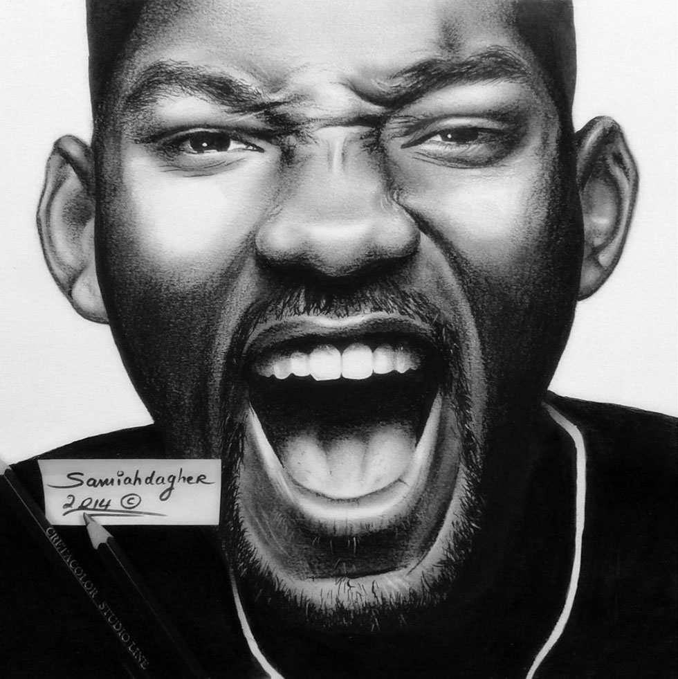 pencil drawing will smith by samia h dager