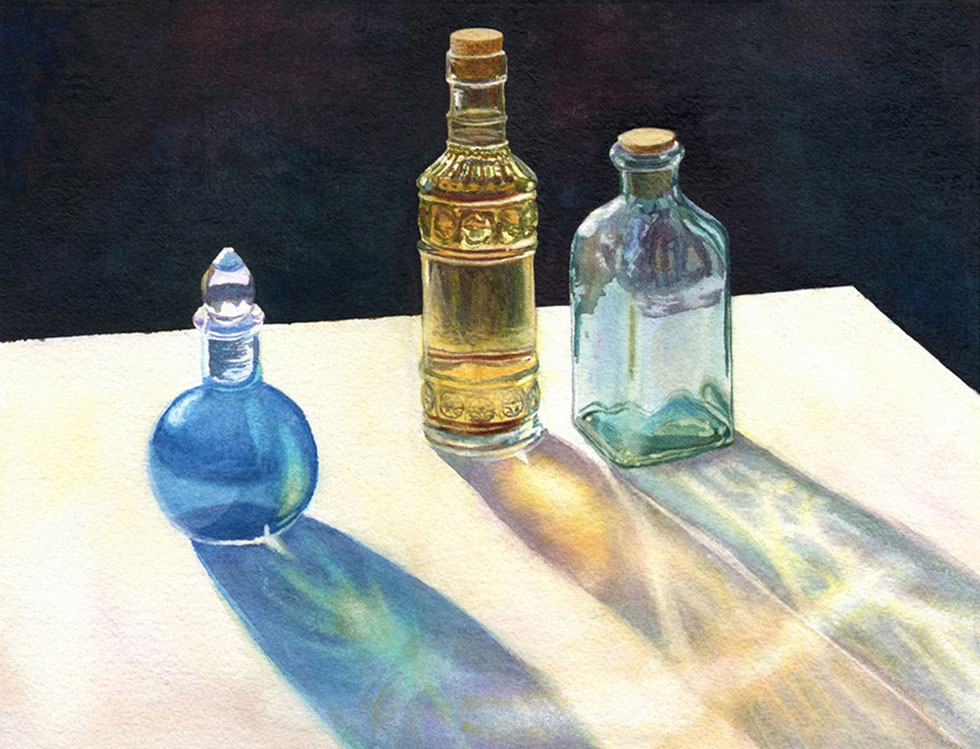 watercolor painting bottle by cathy hillegas