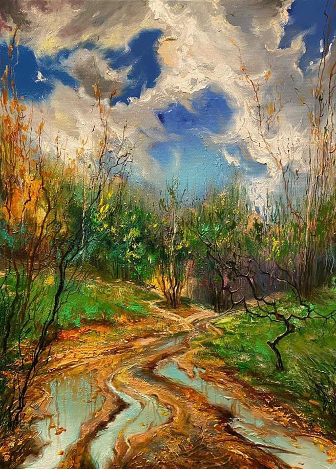 3 beautiful oil painting forest by gor atabekyan art