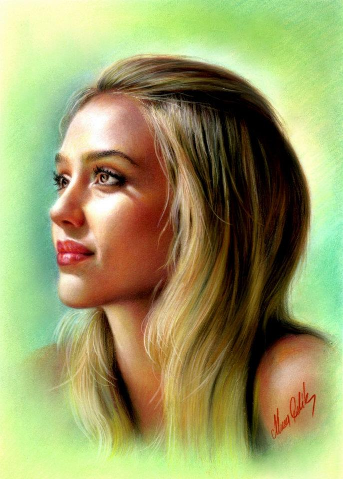 3 color pencil drawing jessica alba by musa celik