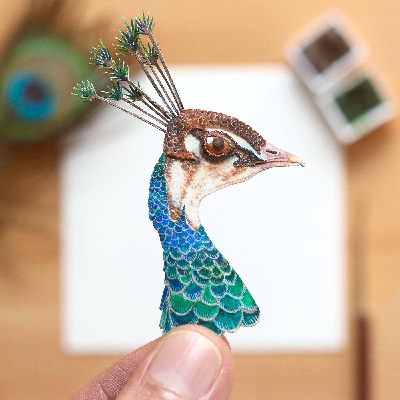 3 miniature painting peahen by nayan vaishali