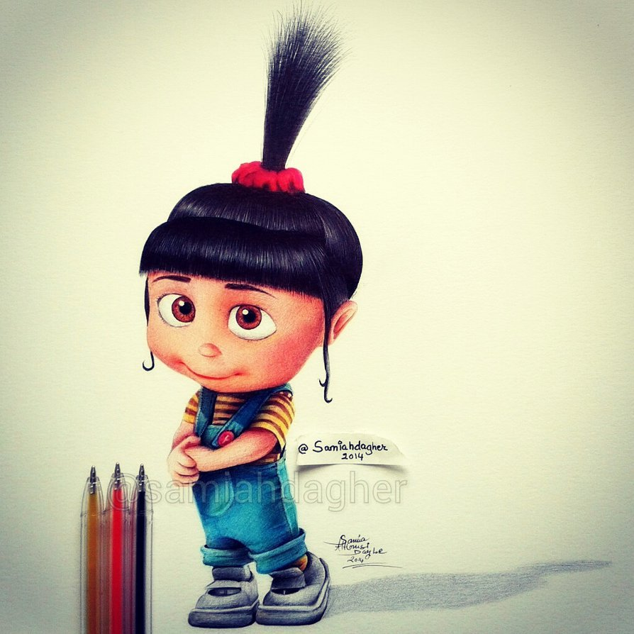 pen drawing cute agnes by samia h dager