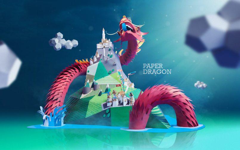 paper artwork dragon by william mirante