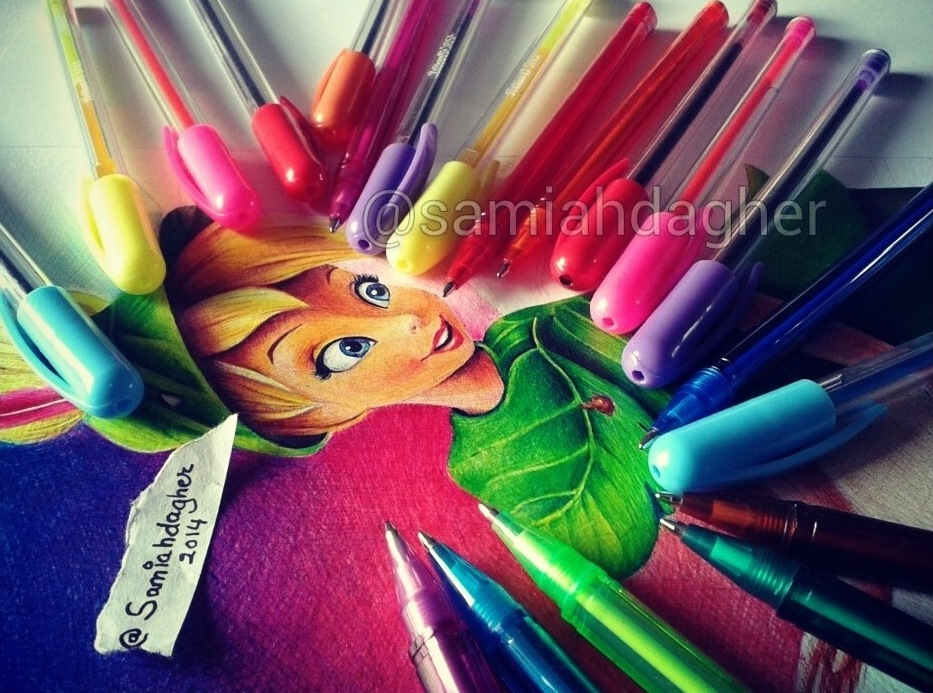pen drawing tinkerbell by samia h dager