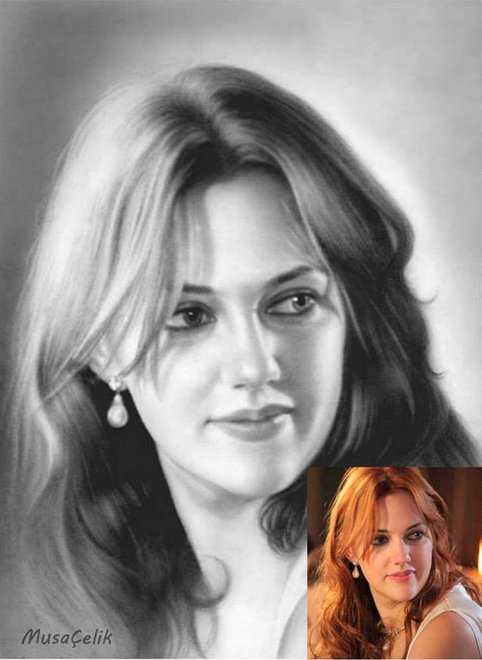 portrait pencil drawing alexandra lisowska by musa celik