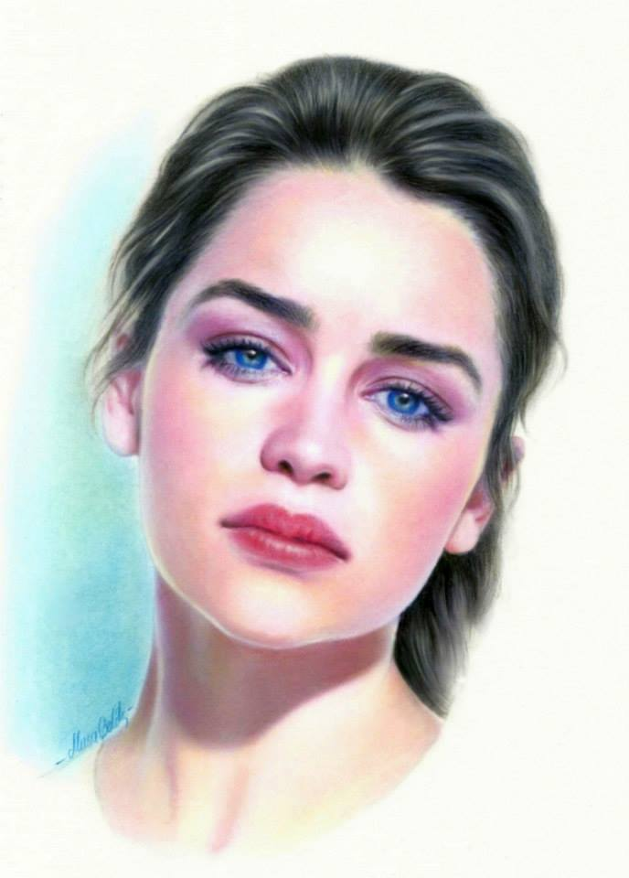 color pencil drawing emilia clarke by musa celik