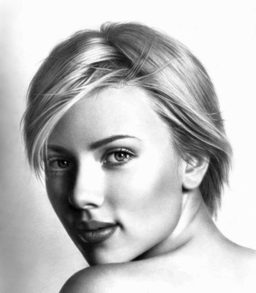 portrait pencil drawing scarlett johansson by musa celik