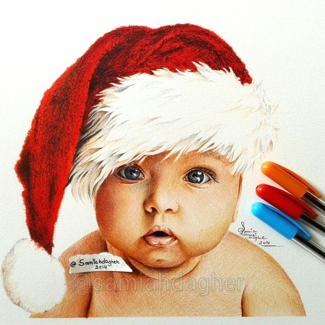 7 pen drawing baby by samia h dager