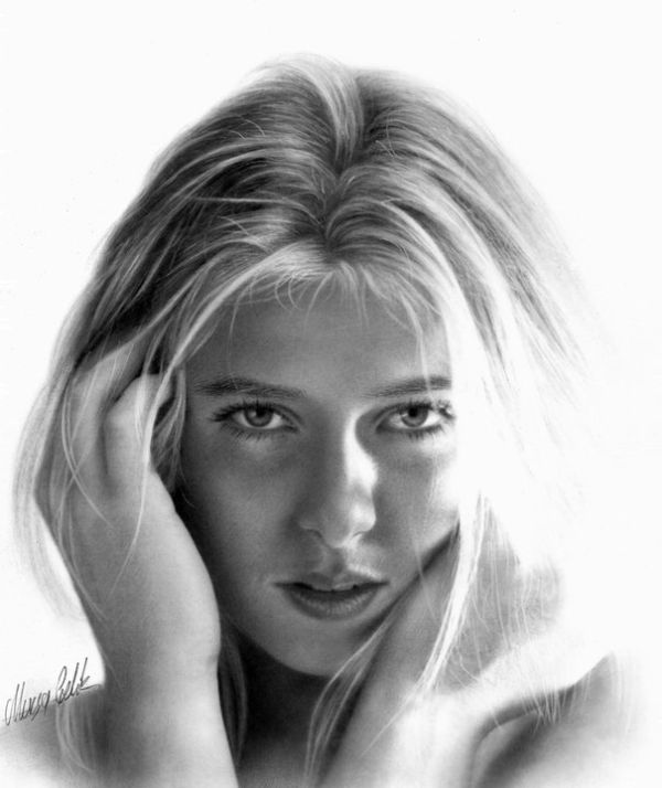 portrait pencil drawing woman by musa celik