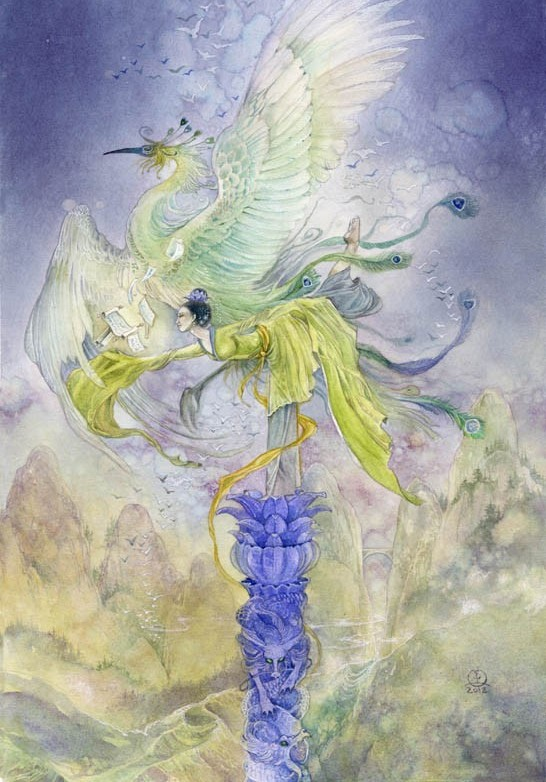 surreal watercolor painting dreamdance harmony by puimun law