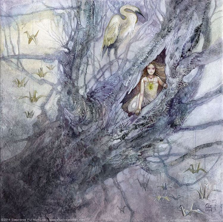 surreal watercolor painting tree child by puimun law