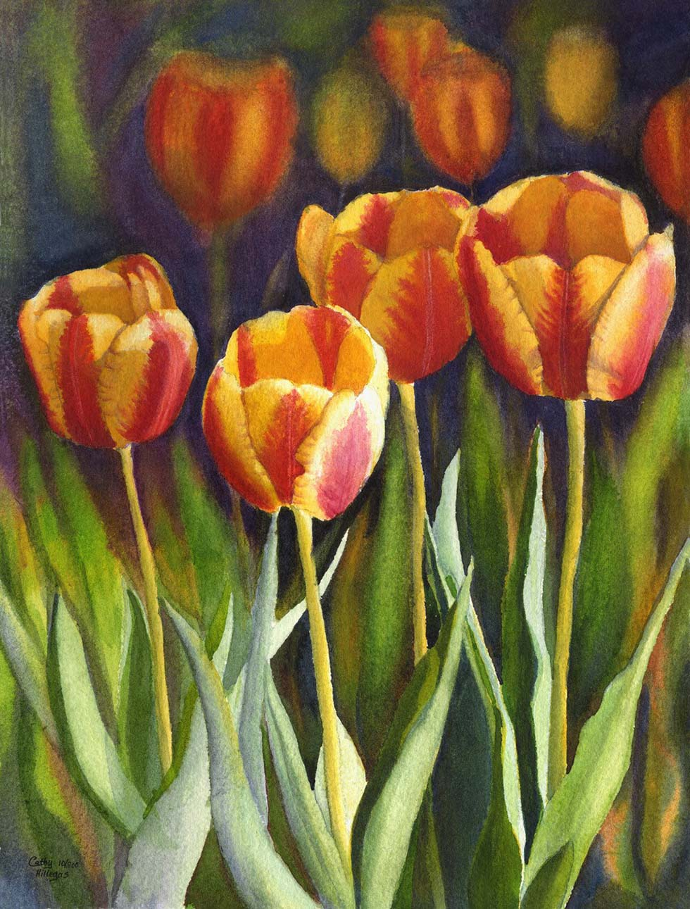 watercolor painting tulip flower by cathy hillegas