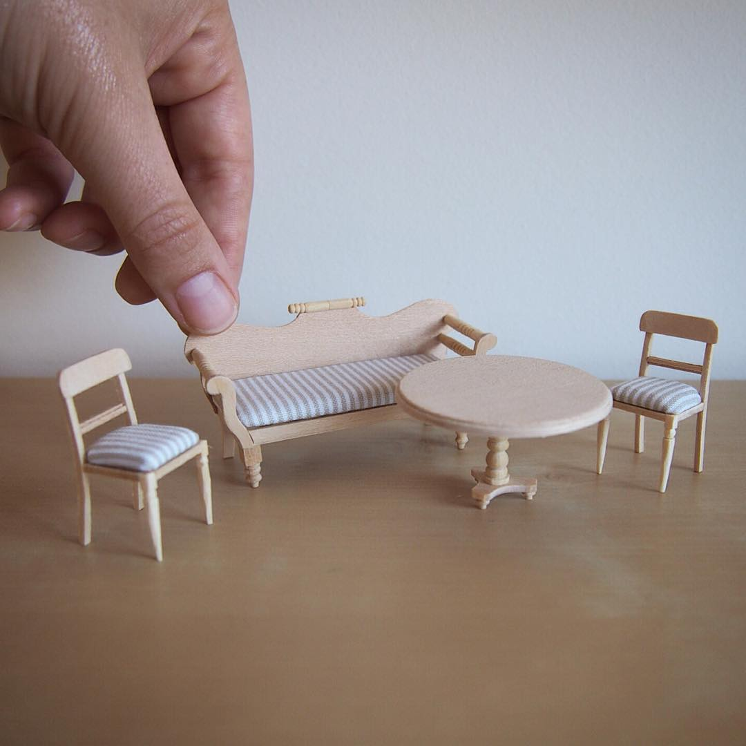 sofa set miniature sculptures by emily boutard