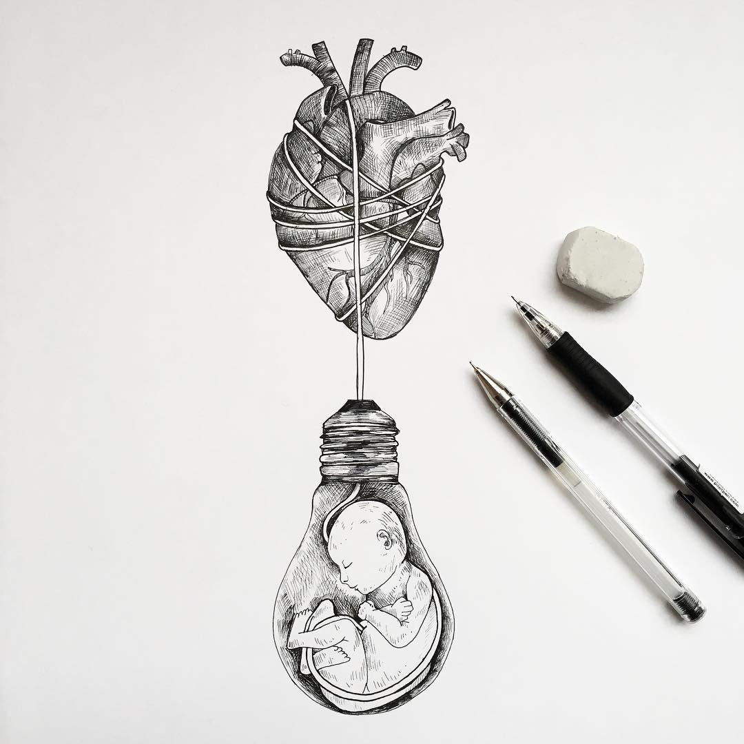 surreal drawing art heart child alfred basha