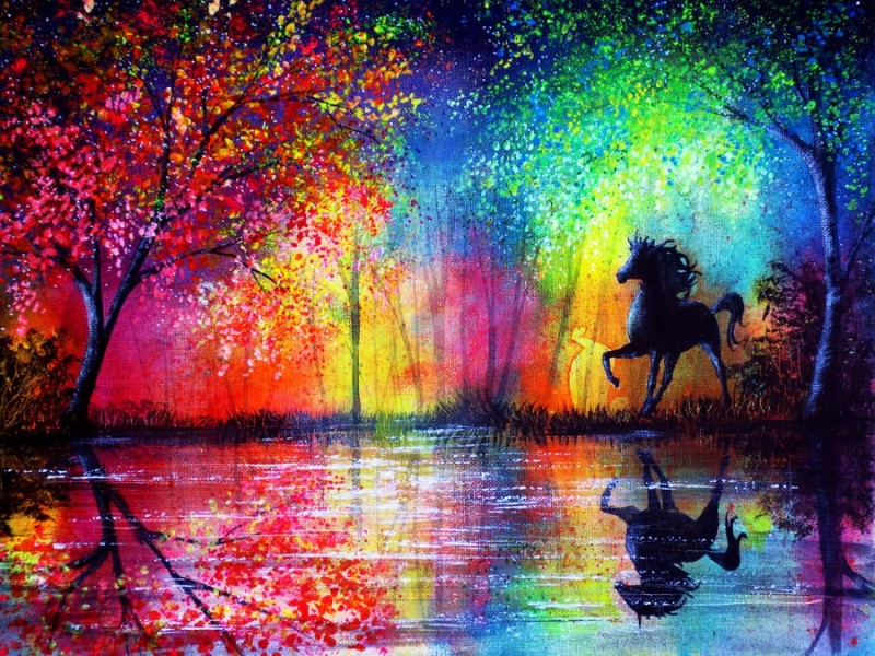 11 rainbow stallion colorful nature paintings by ann marie bone