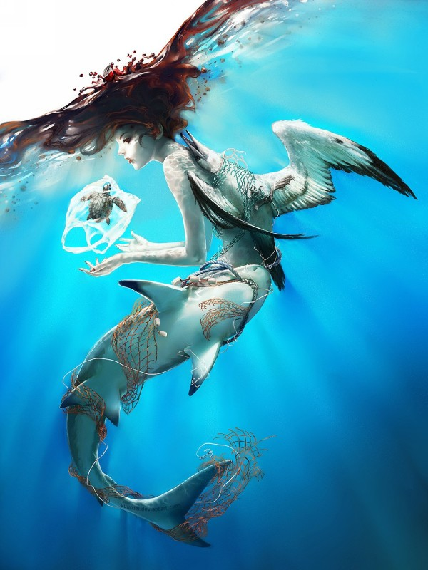 woman fish digital painting by wenqing yan