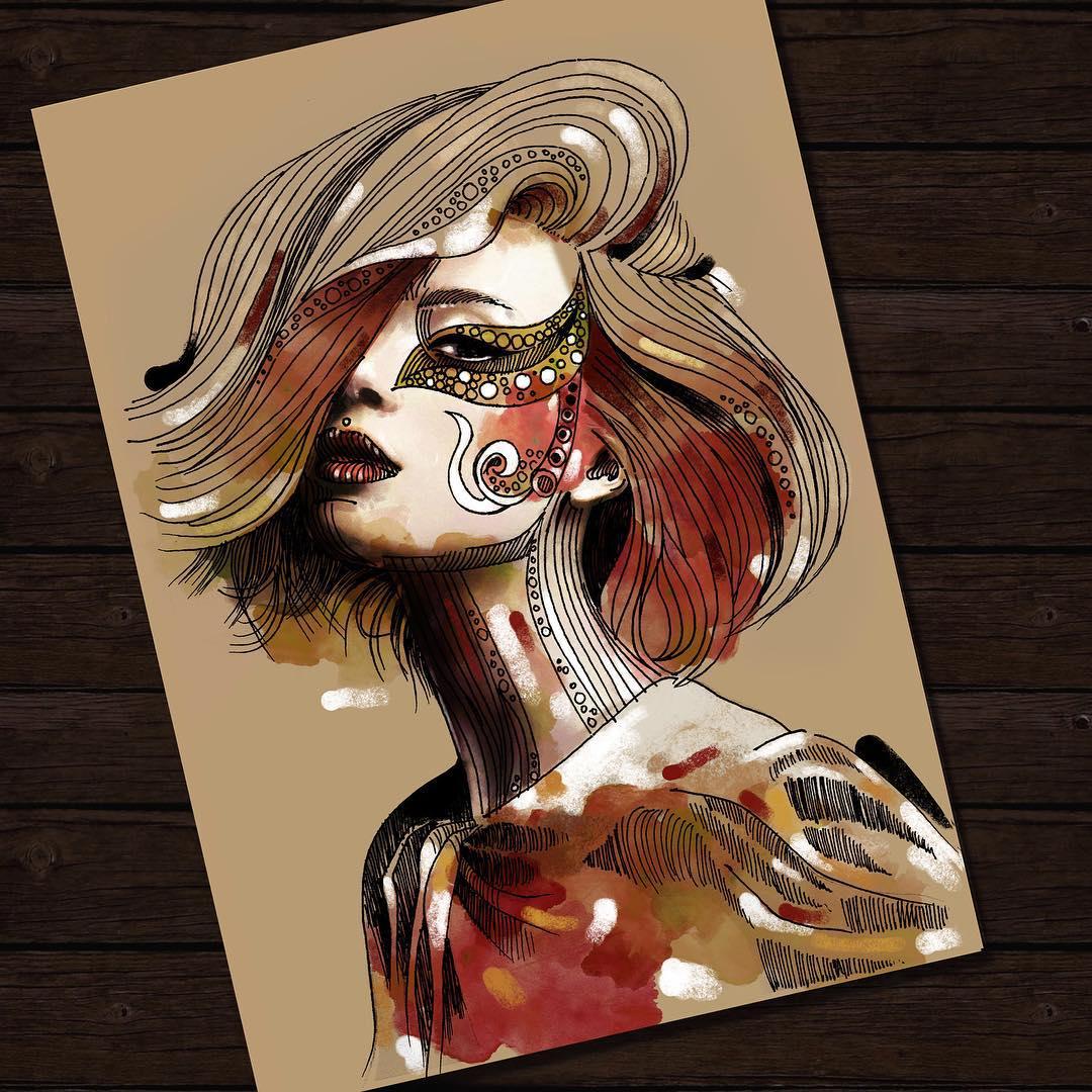 girl portrait paintings by eman zogbi