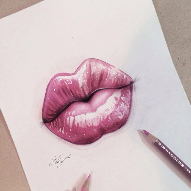 lips color pencil drawings by kayan artcisne
