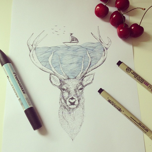 surreal drawing art reindeer alfred basha