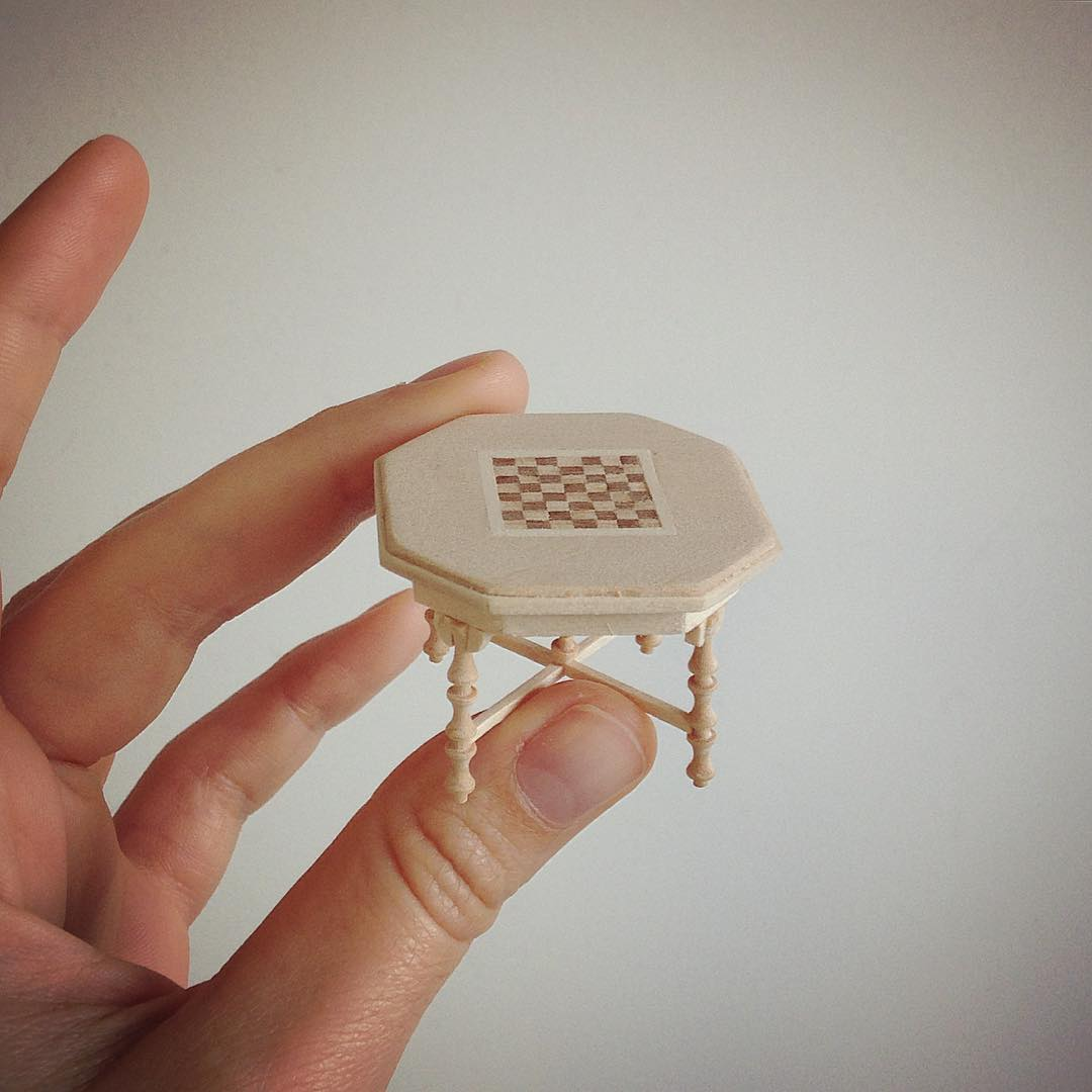 chess table miniature sculptures by emily boutard