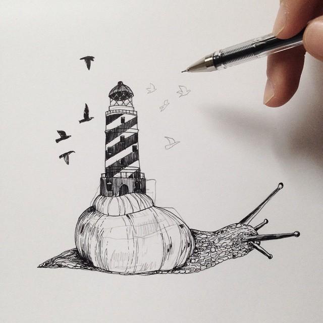 surreal drawing art snail alfred basha