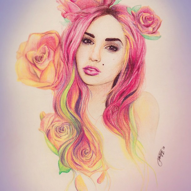 woman color pencil drawing by jennifer