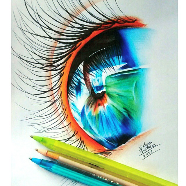 15 eyes drawing by gelson fonteles