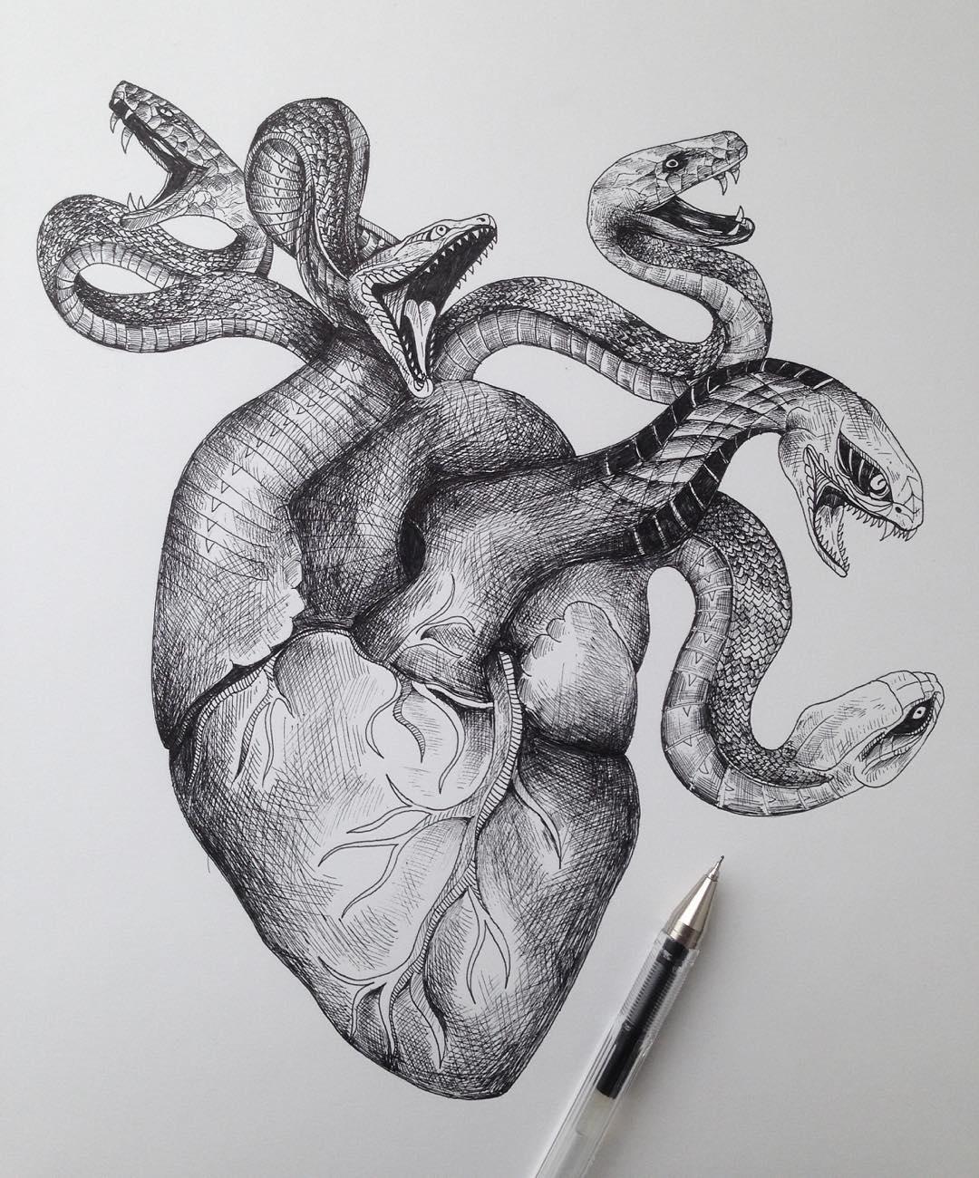 surreal drawing heart alfred basha