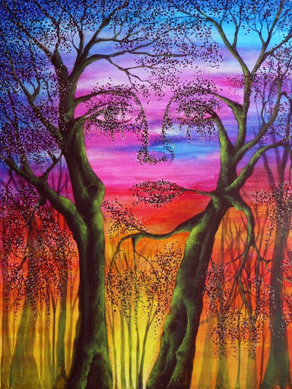 woman face colorful nature paintings by ann marie bone