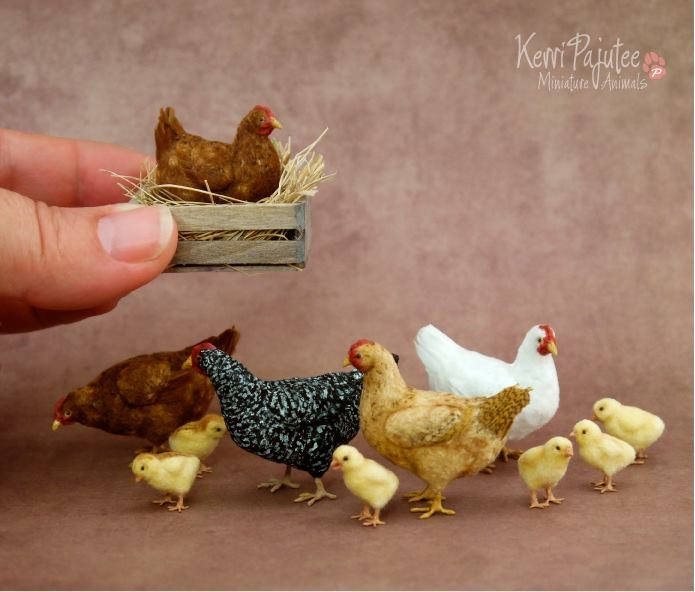 chicken miniature animal sculpture by kerri pajutee