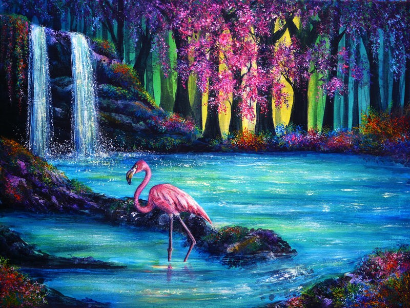 16 flamingo falls colorful nature paintings by ann marie bone