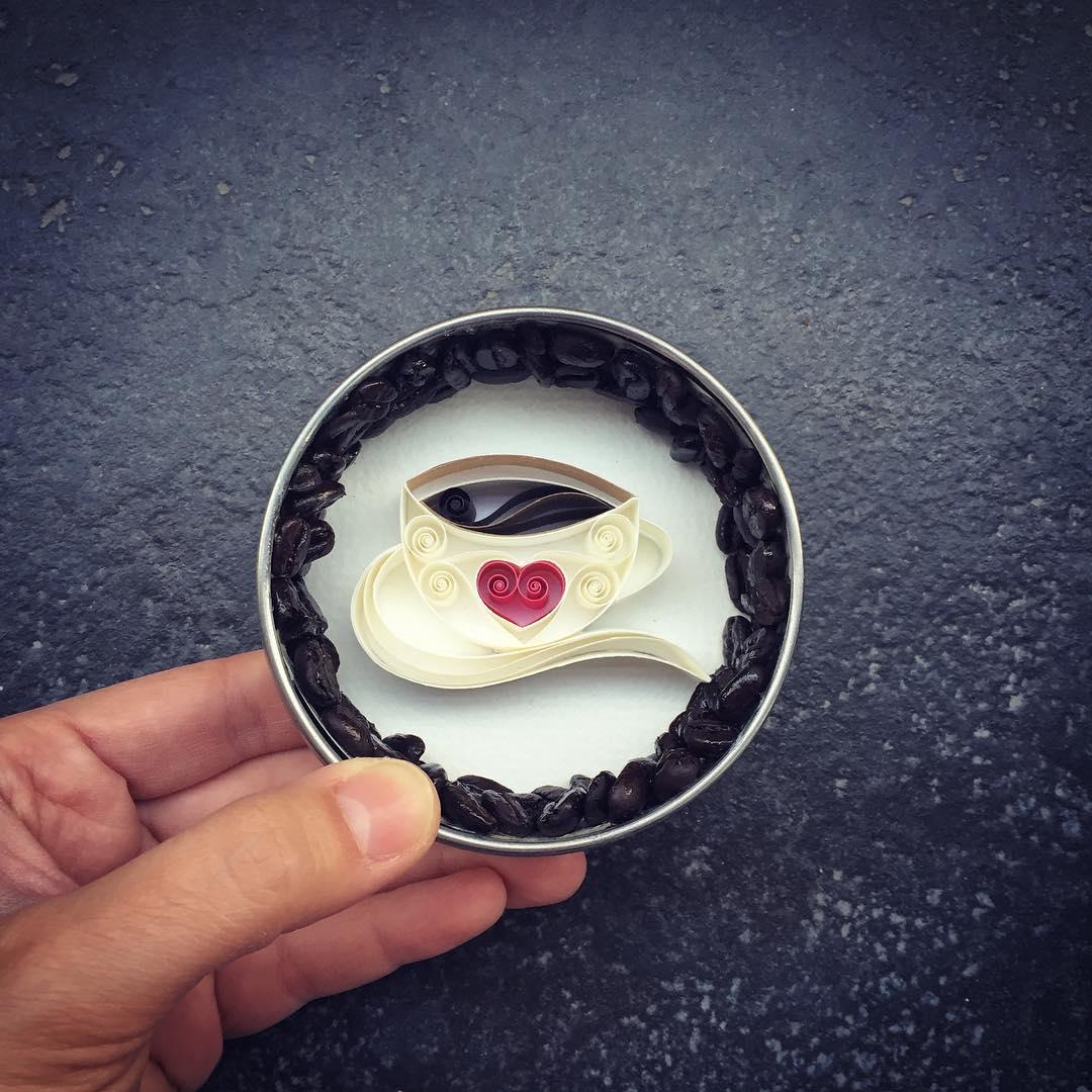tea cup quilling art by sena runa