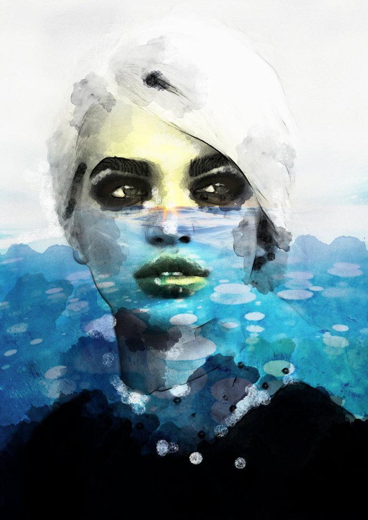 underwater lady portrait paintings by eman zogbi