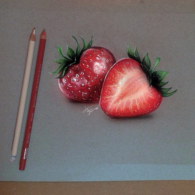 strawberries color pencil drawings by kayan artcisne