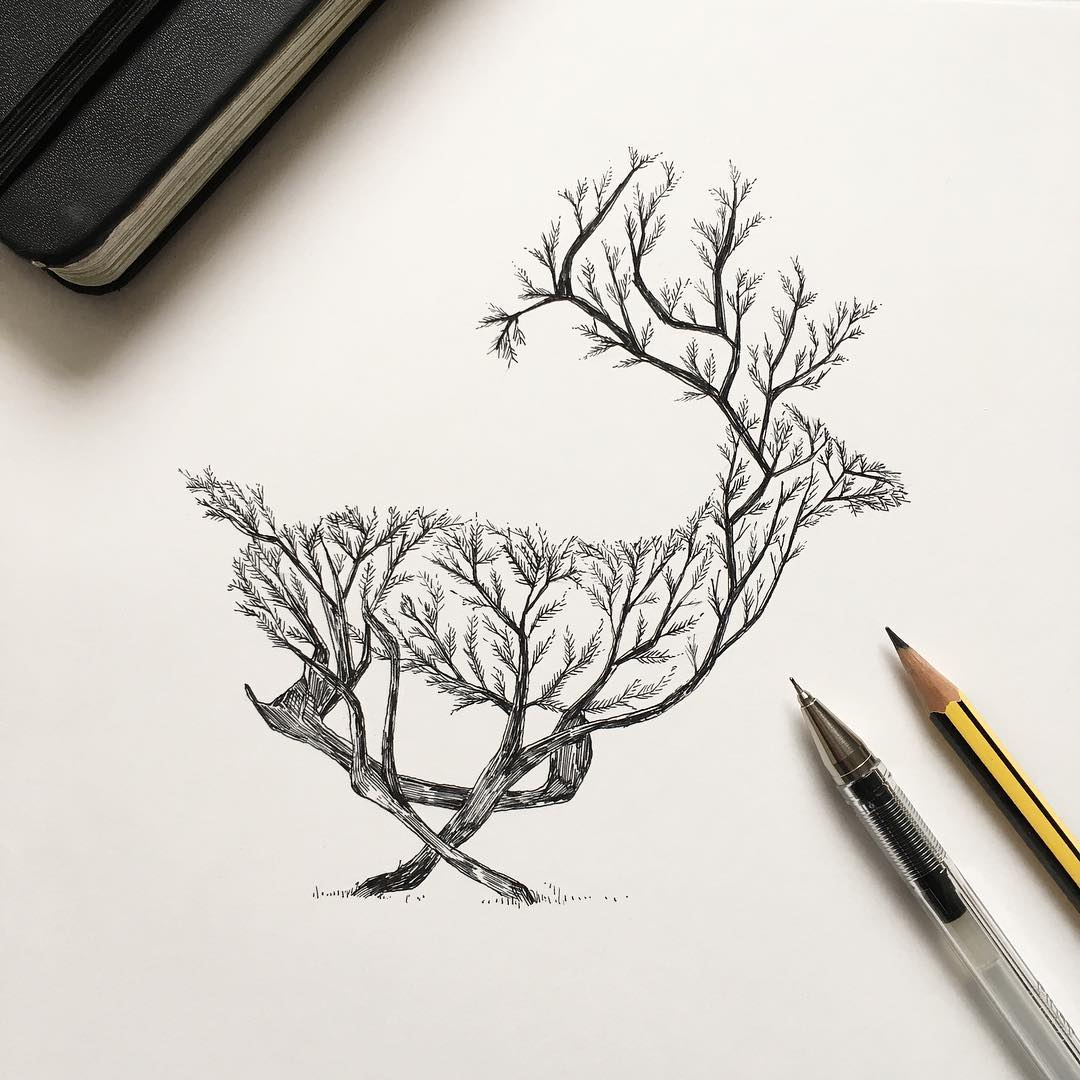 surreal drawing art deer alfred basha