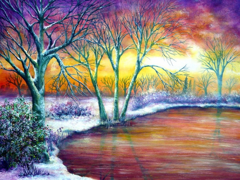 winter colorful nature paintings by ann marie bone