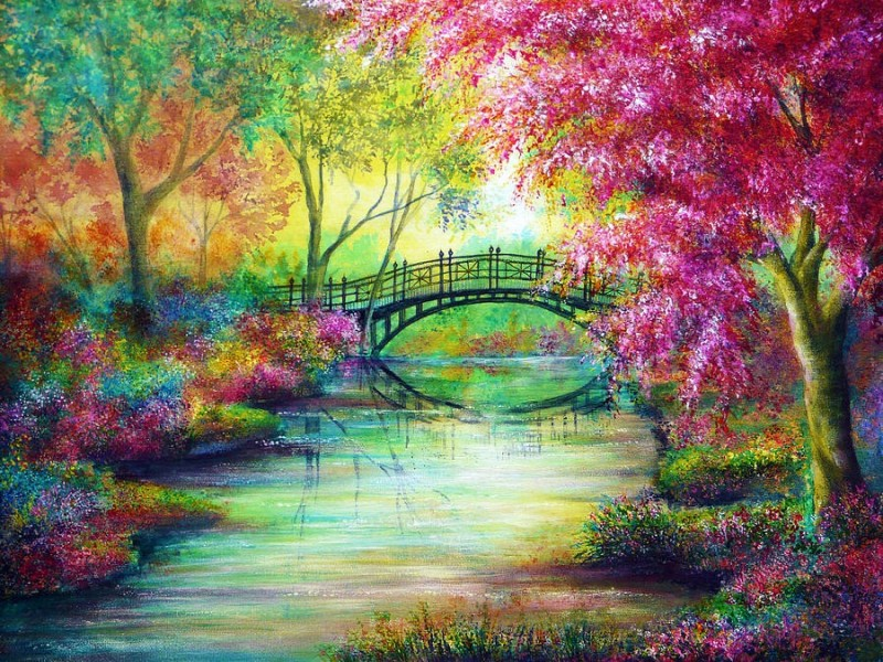 2 bridge colorful nature paintings by ann marie bone