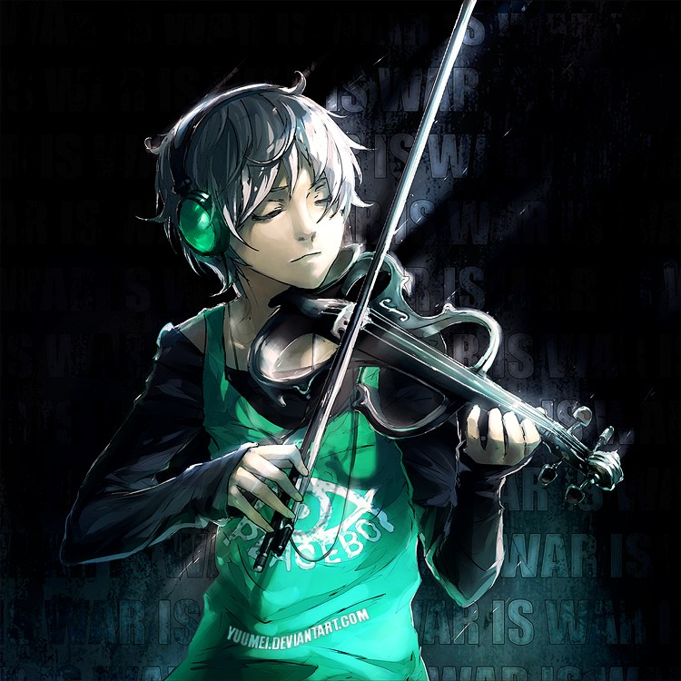 violin boy digital painting by wenqing yan