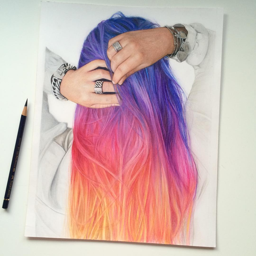 woman hair color pencil drawing by jennifer