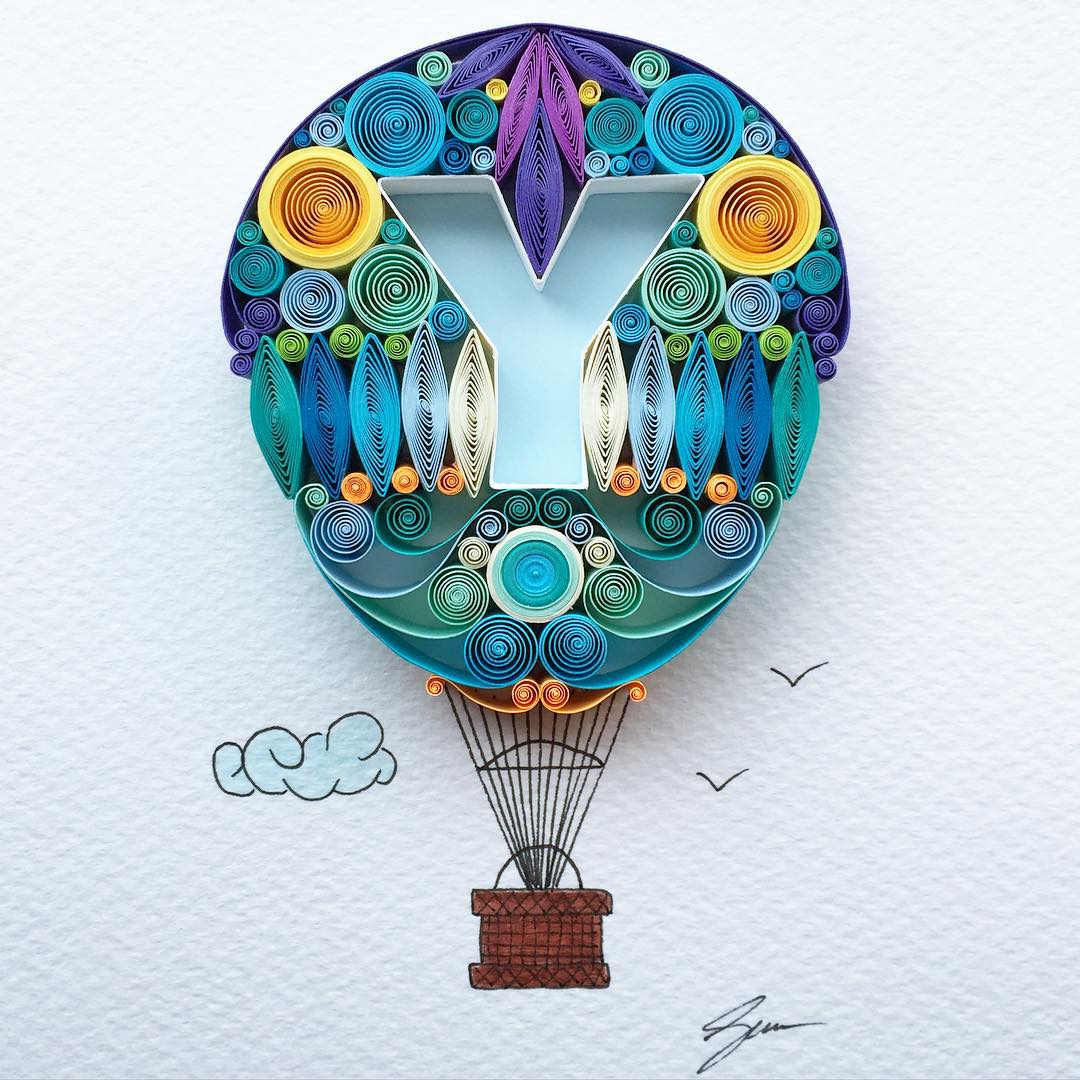 3 air balloon quilling art