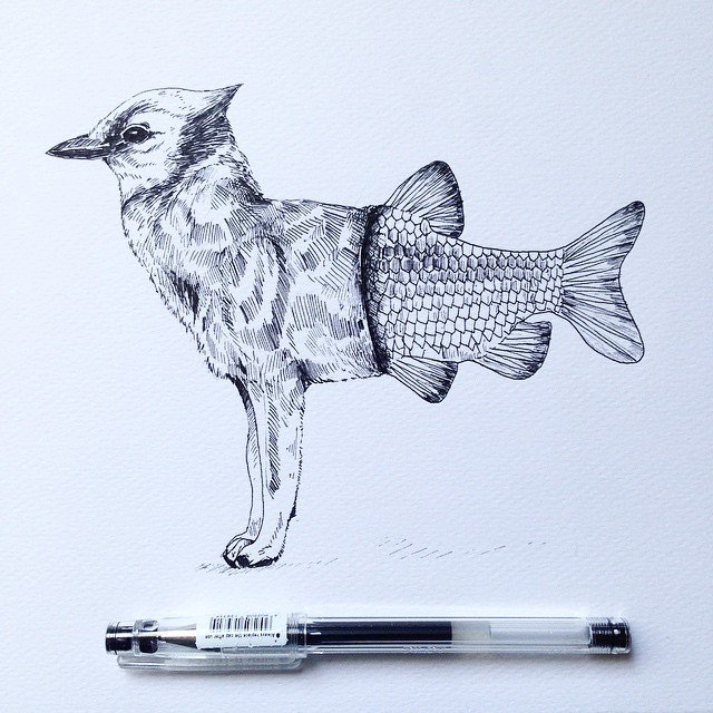 surreal drawing art bird fish alfred basha