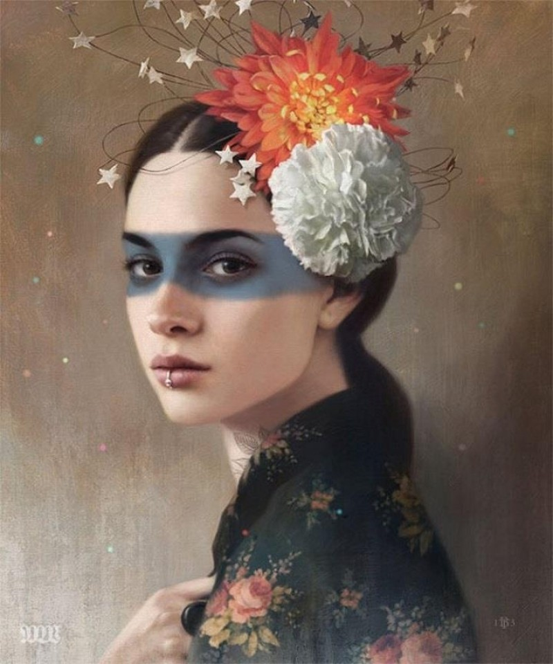 3 woman realistic paintings by tom bagshaw