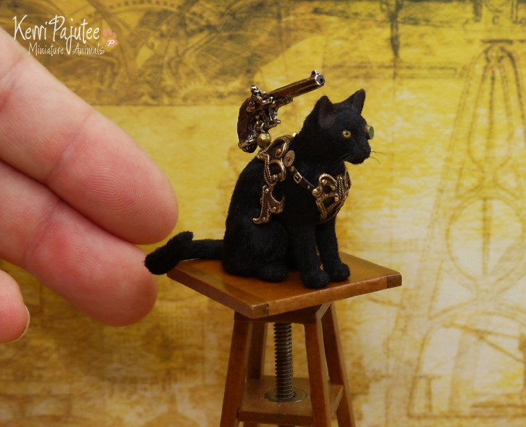 steampunk cat miniature animal sculpture by kerri pajutee