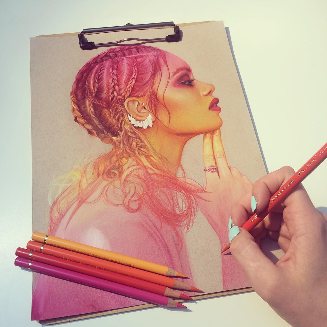 5 woman color pencil drawing by jennifer
